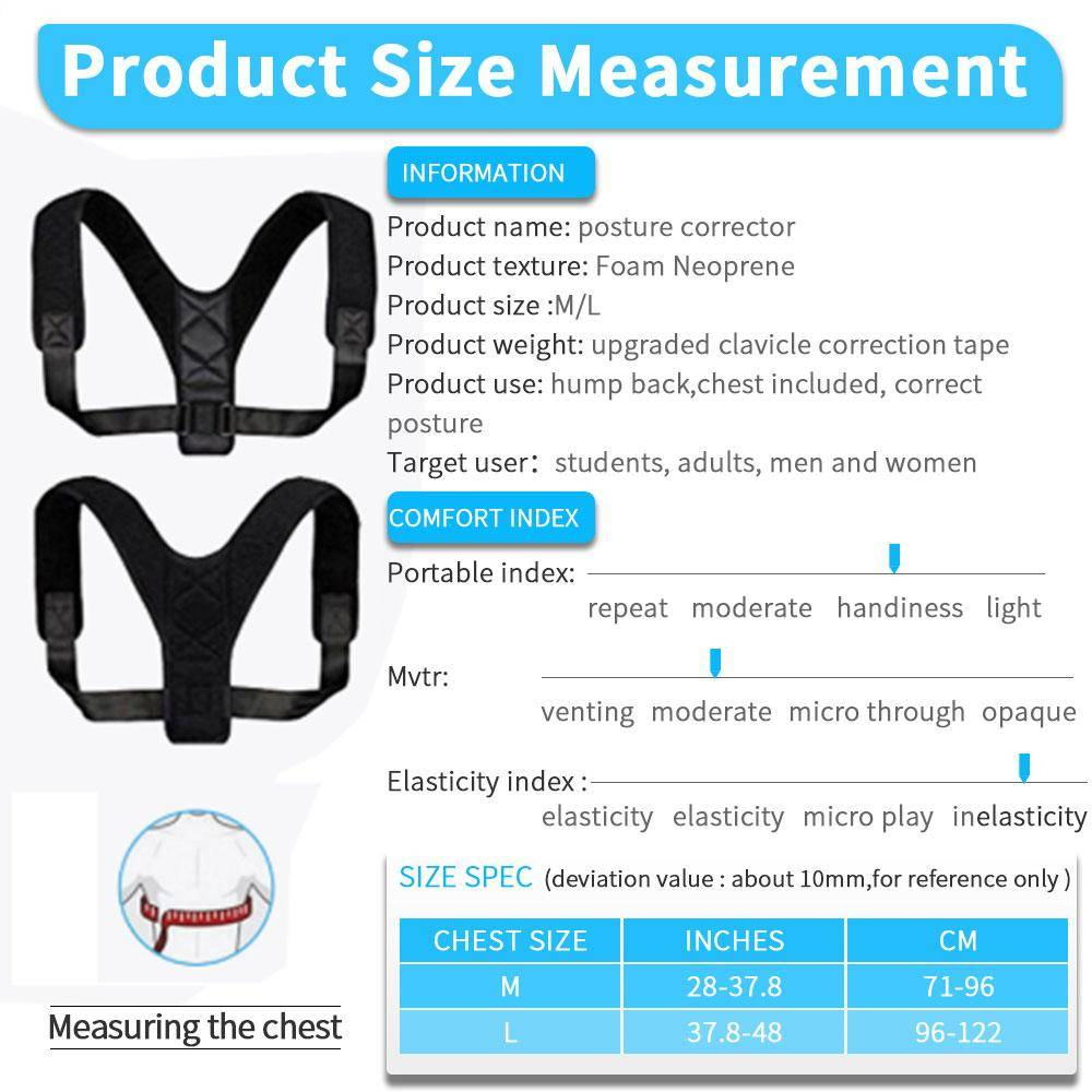 Posture Corrector For Men And Women Size Chart - Home Gym Tech