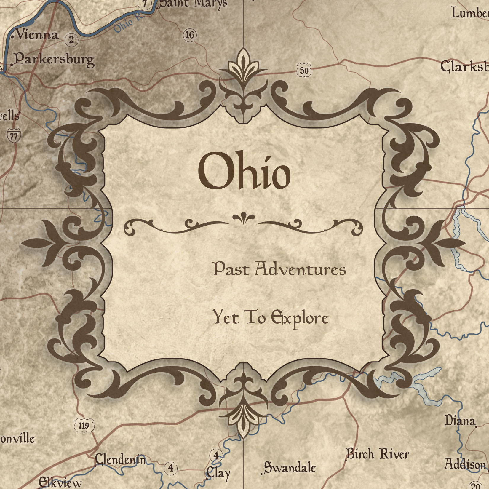 Conquest Maps Rustic Vintage Ohio Legend