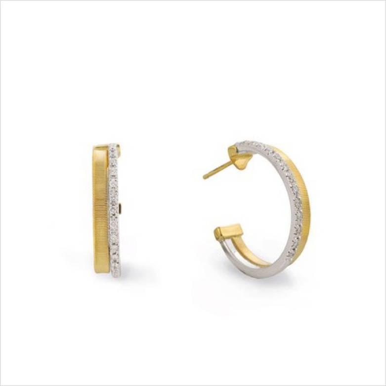 White and Yellow Gold Diamond Hoop Earrings