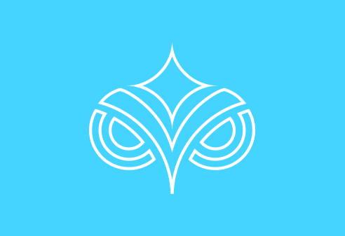 White outlined Pokahnights logo on blue background