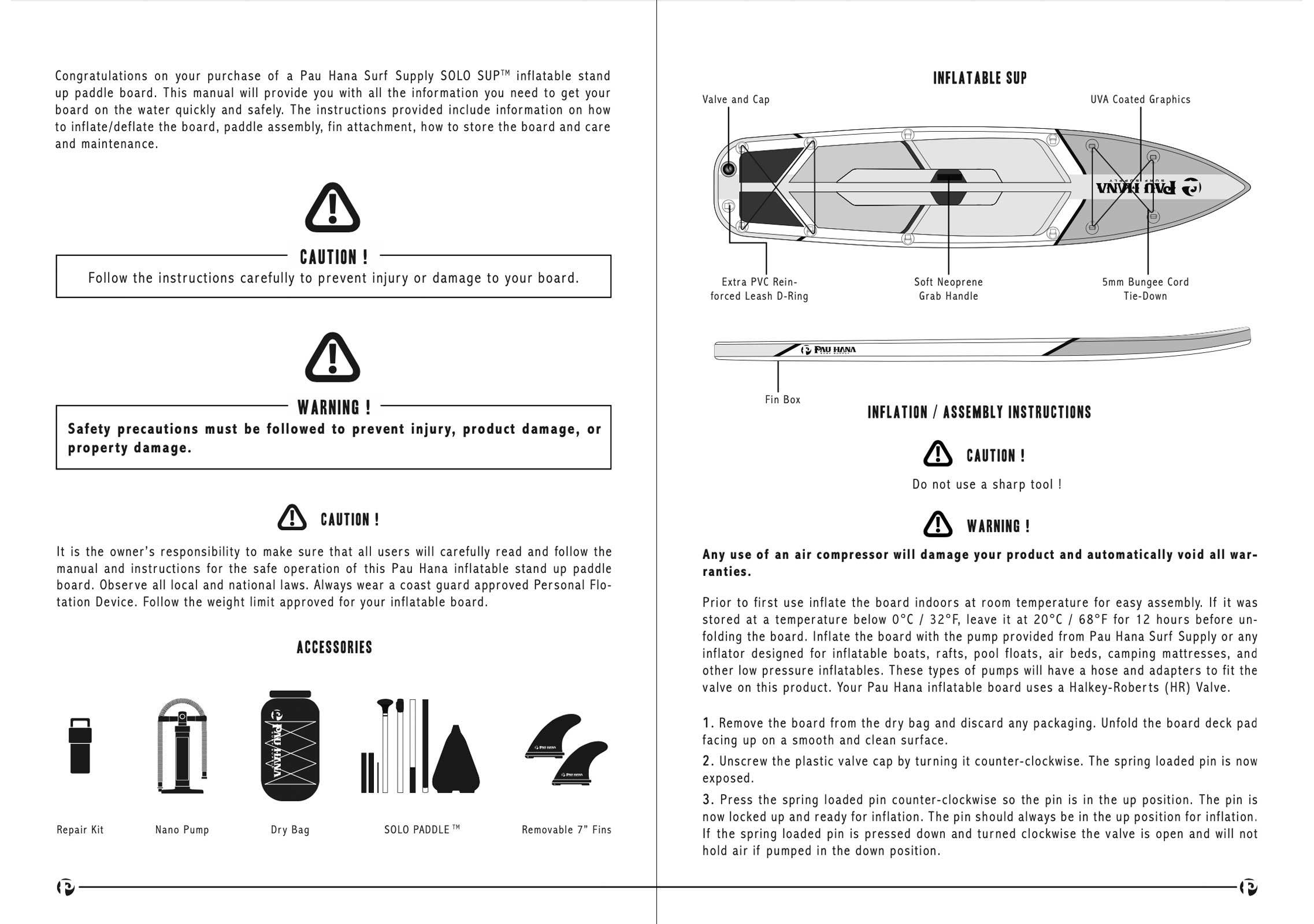 pau hana Solo SUP Backcountry inflatable stand up paddle board user manual page 2-3