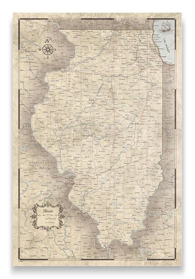 Illinois Push pin travel map rustic vintage
