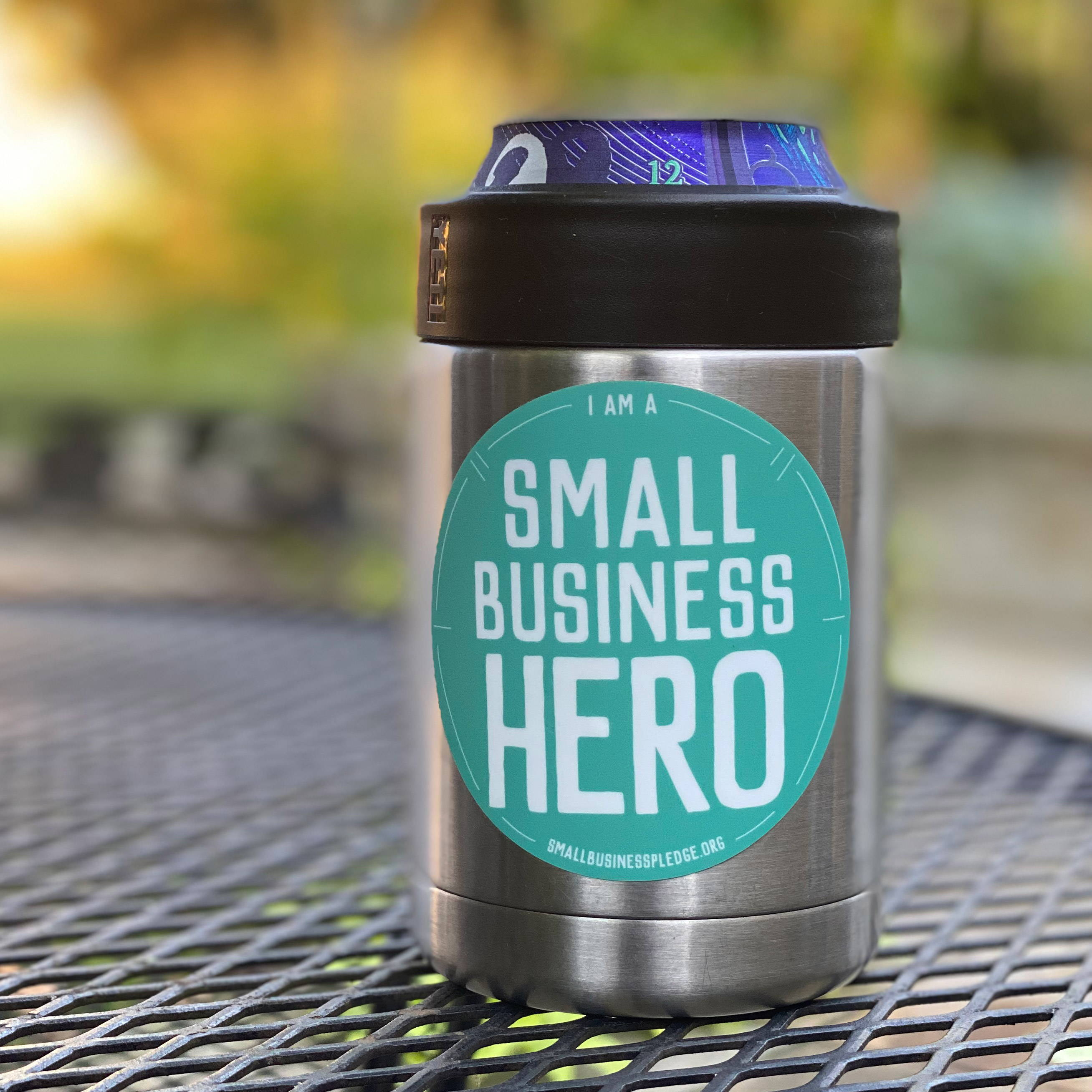 Small business hero sticker
