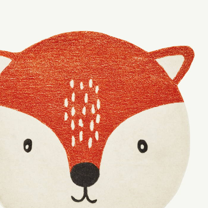 Children's orange rug with fox face