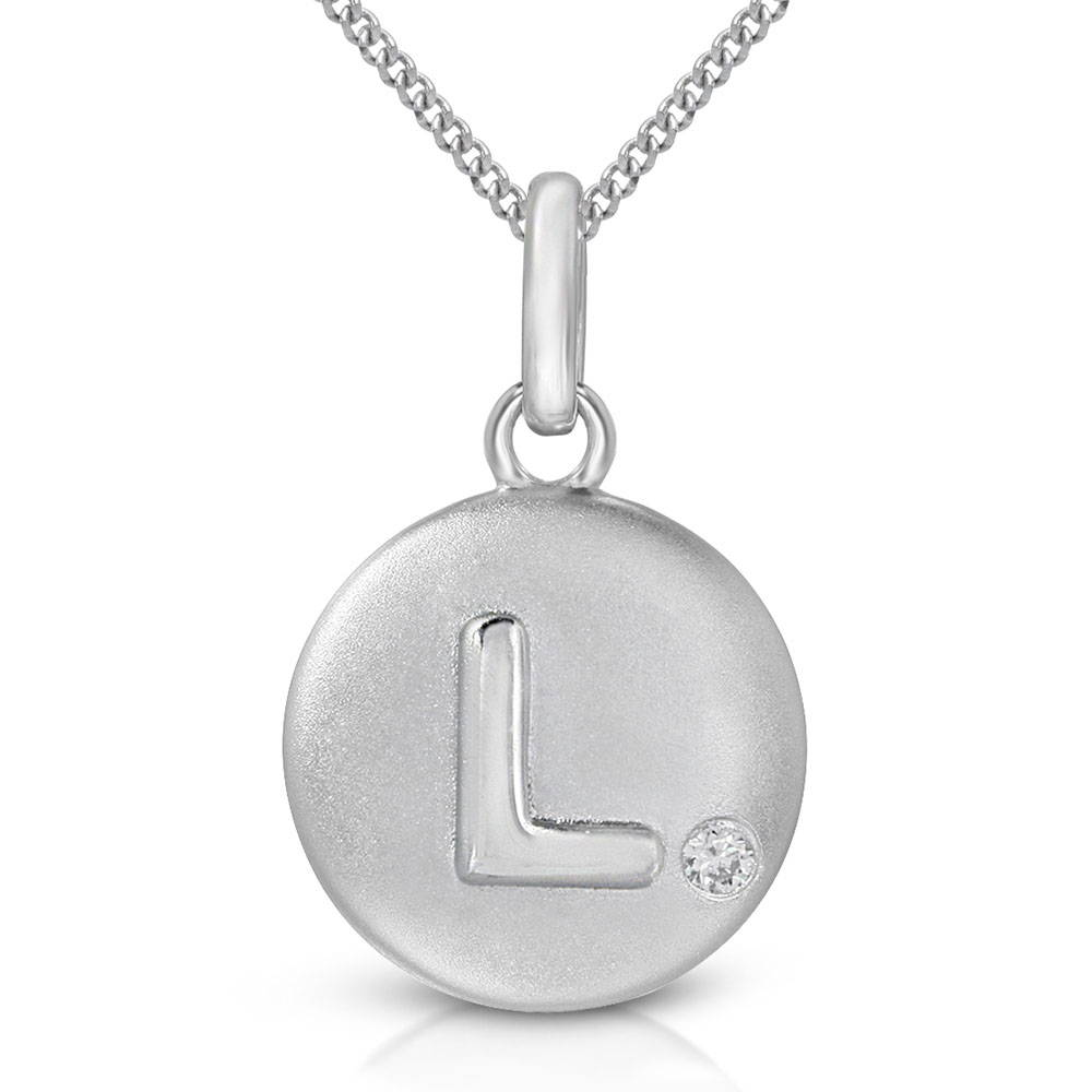 Pure at Birth letter L pendant with curb link necklace