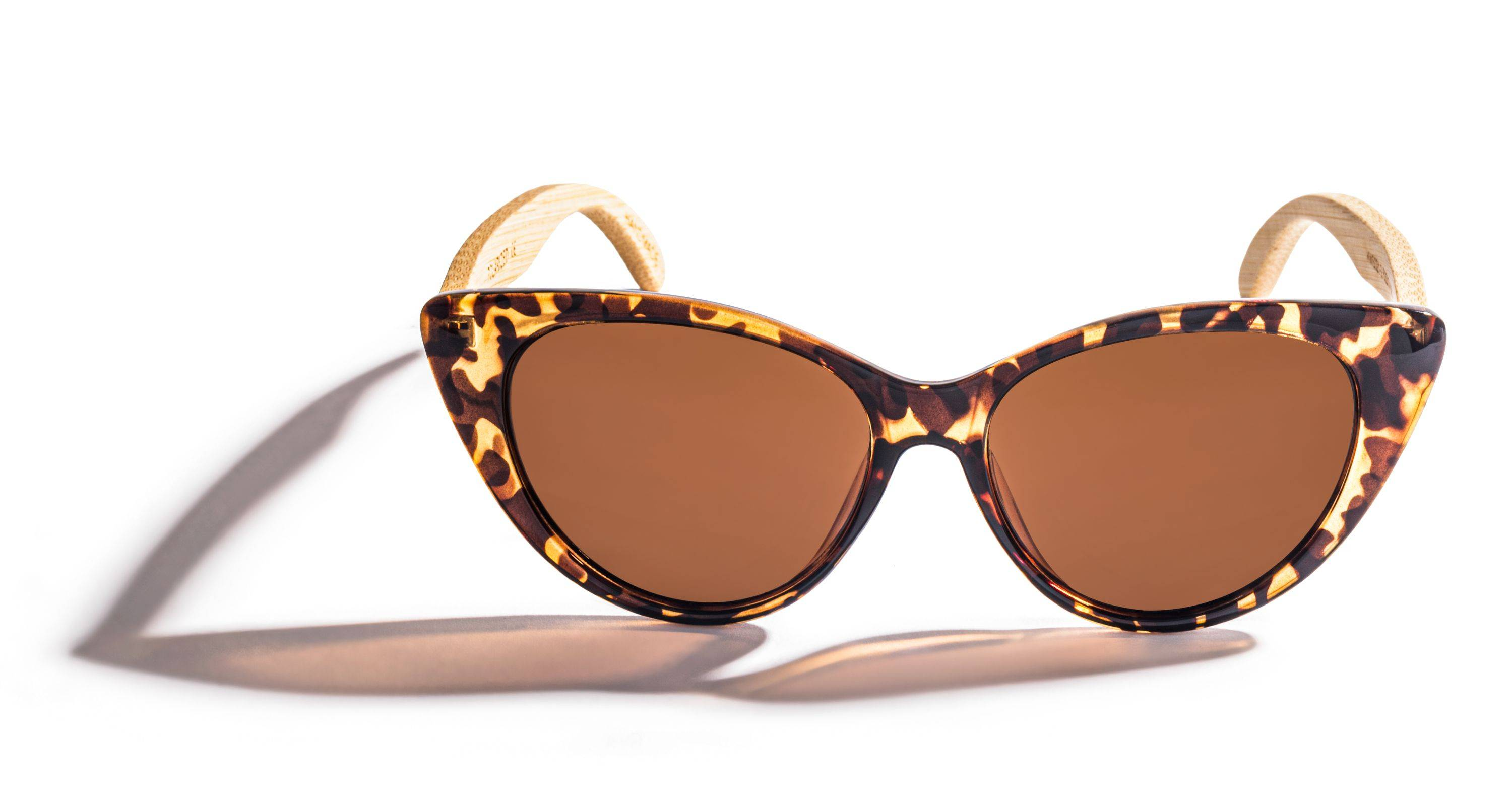 Kraywoods Stella, Cat Eye Tortoise Sunglasses made from Bamboo wood with polarized brown lenses