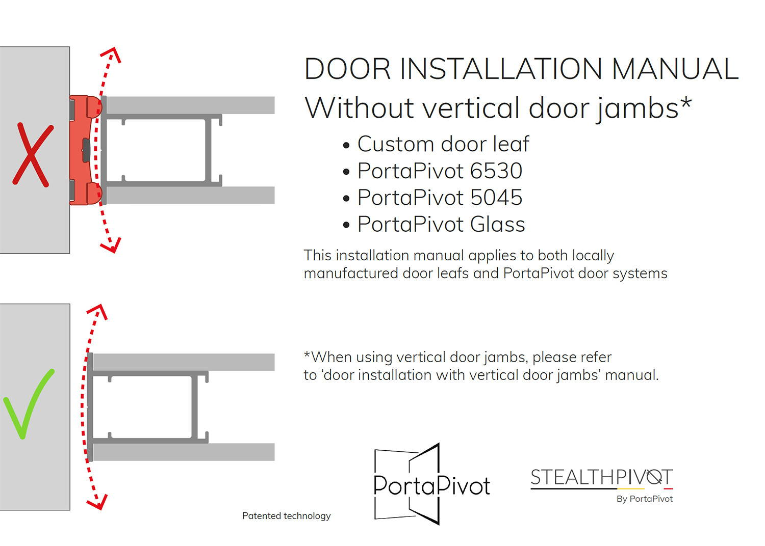 Portapivot 5045 installation manual without vertical door jambs