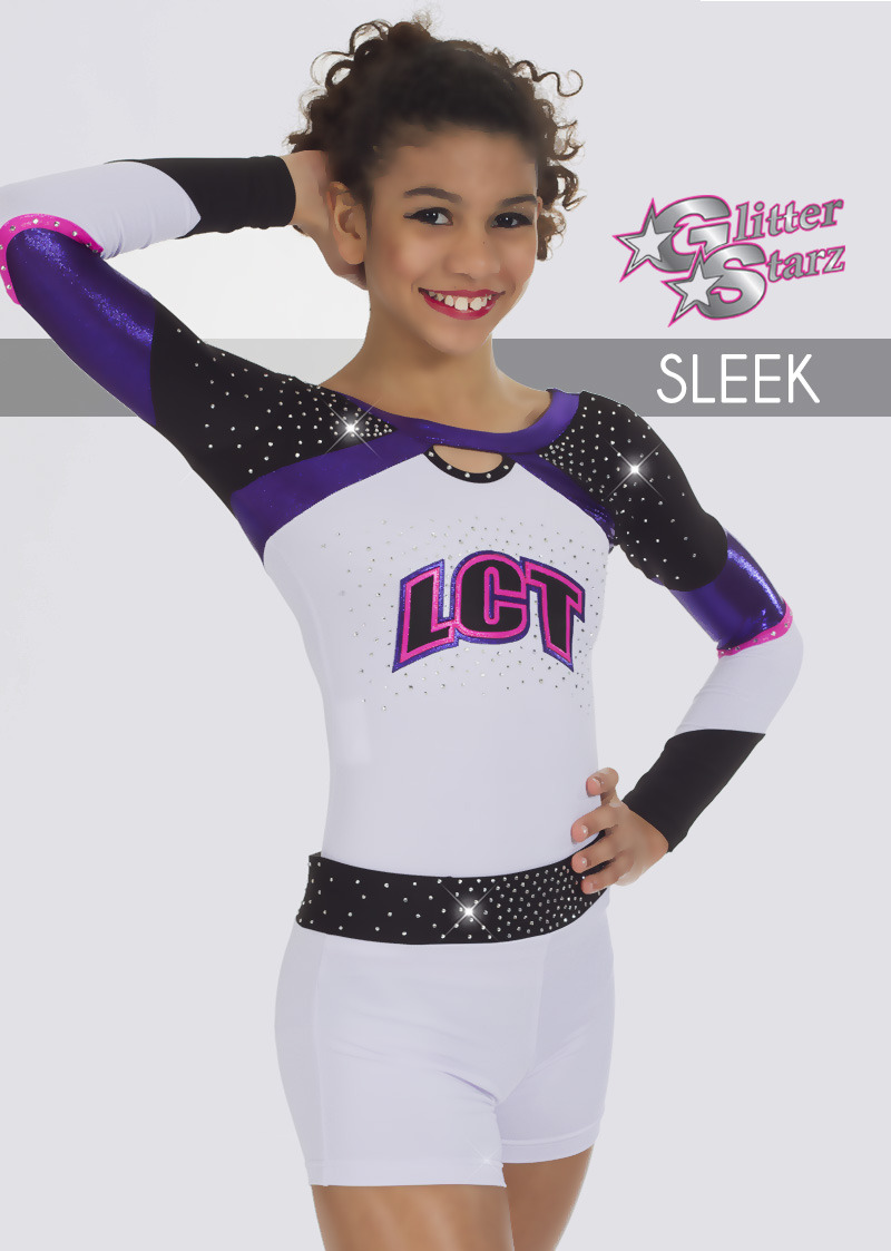 sleek glitterstarz uniform white black purple pink metallic rhinestone  teamwear for cheerleading dance 7450aff38