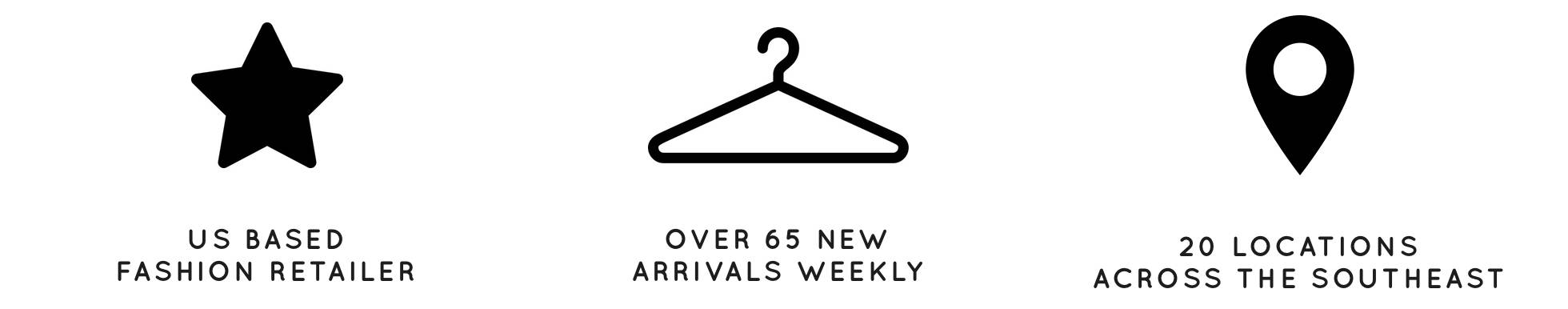 US BASED FASHION RETAILER, OVER 65 NEW ARRIVALS WEEKLY, 20 LOCATIONS ACROSS THE SOUTHEAST, dress up, shopdressup, about us, our story, who we are