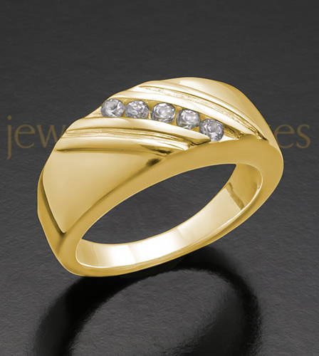 Men's 14K Gold Fondness Cremation Ring For Human Ashes
