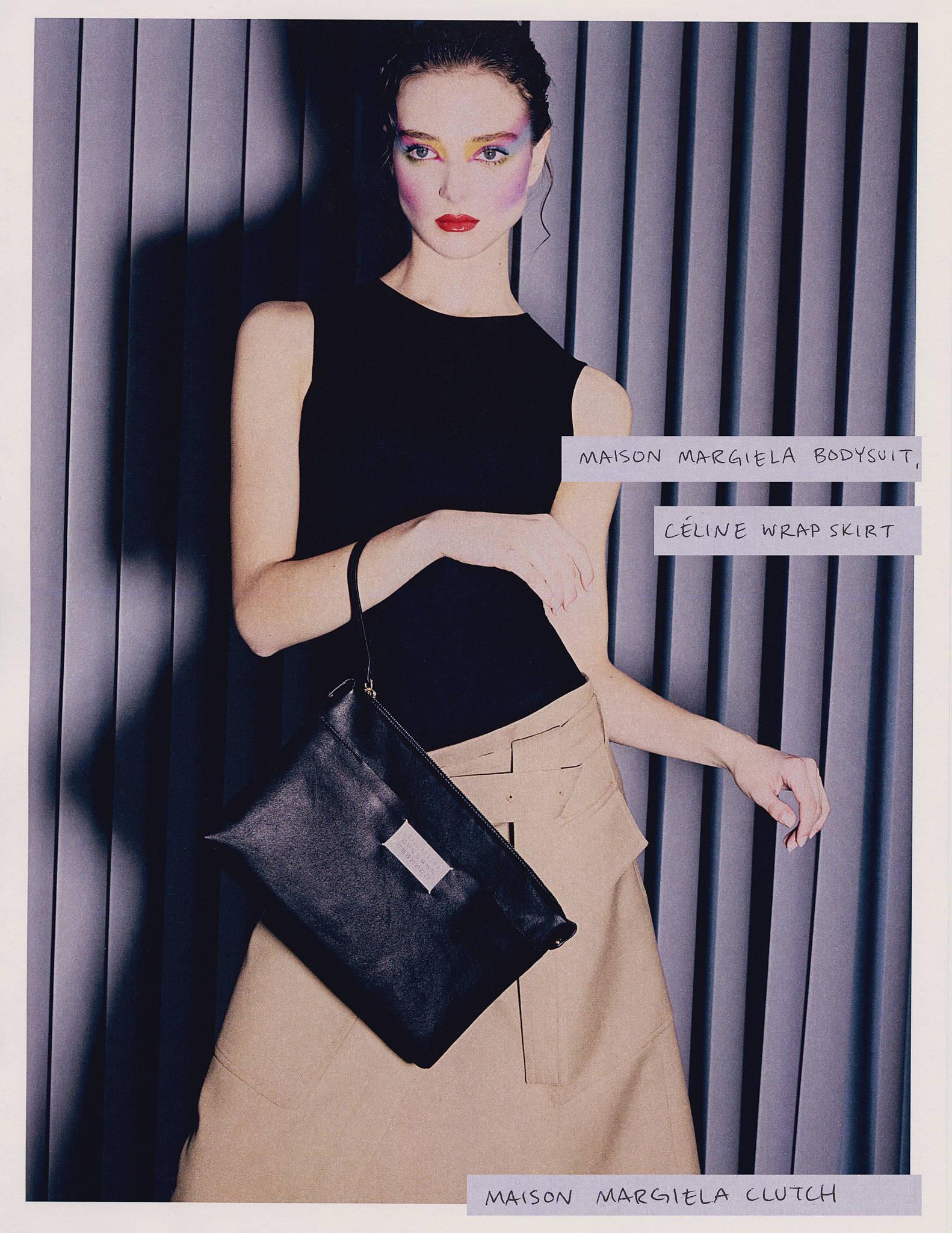 Maison Margiela bodysuit, Maison Margiela Clutch, Celine Wrap Skirt