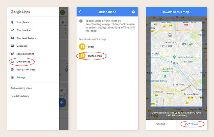 how to download google maps area