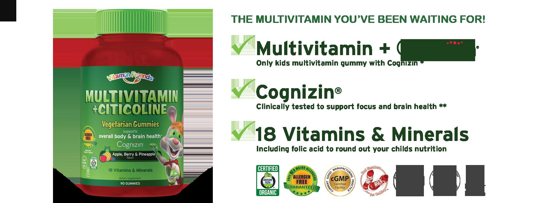 Vitamin Friends Multivitamin with Cognizin