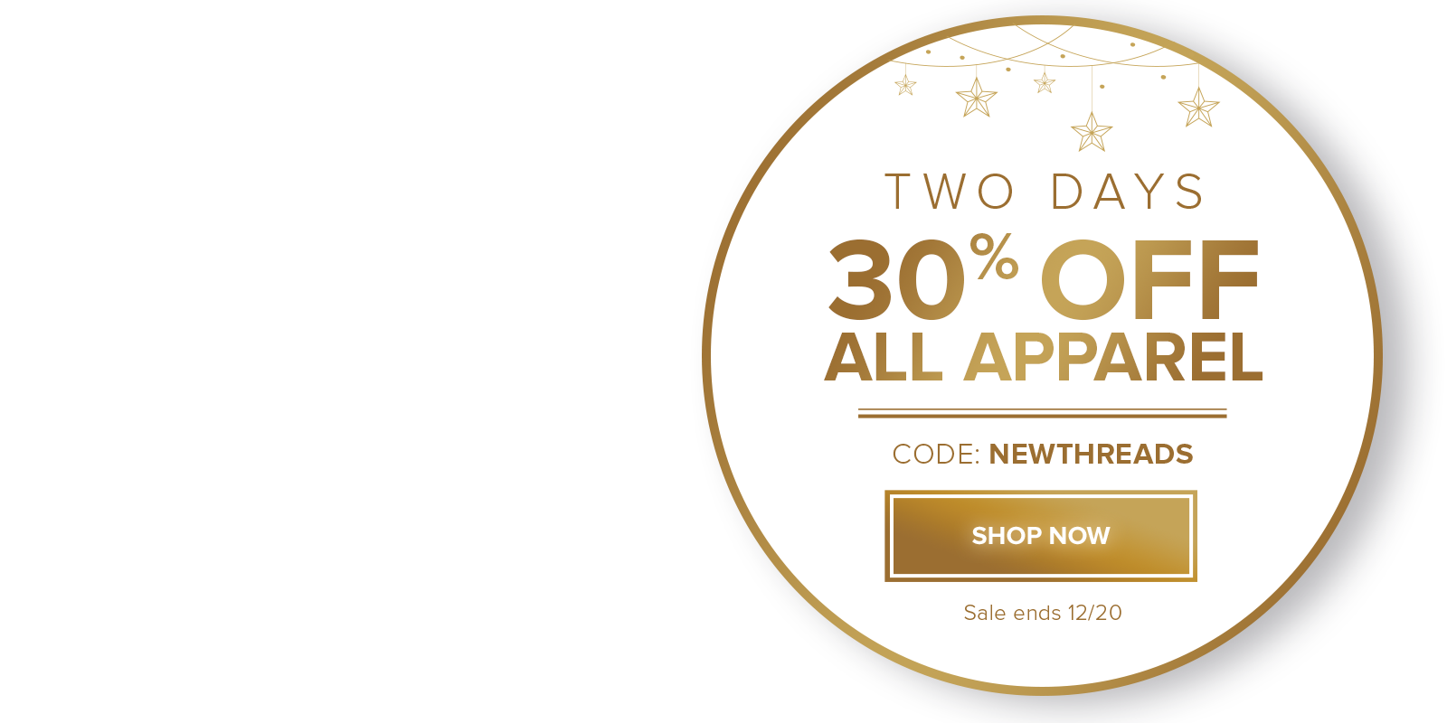 30% off apparel with code NEWTHREADS