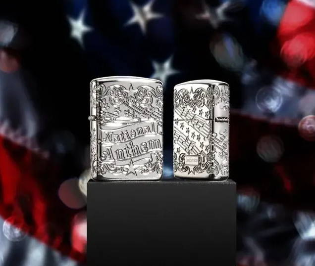 Collectible Lighter displayed on US Flag background.