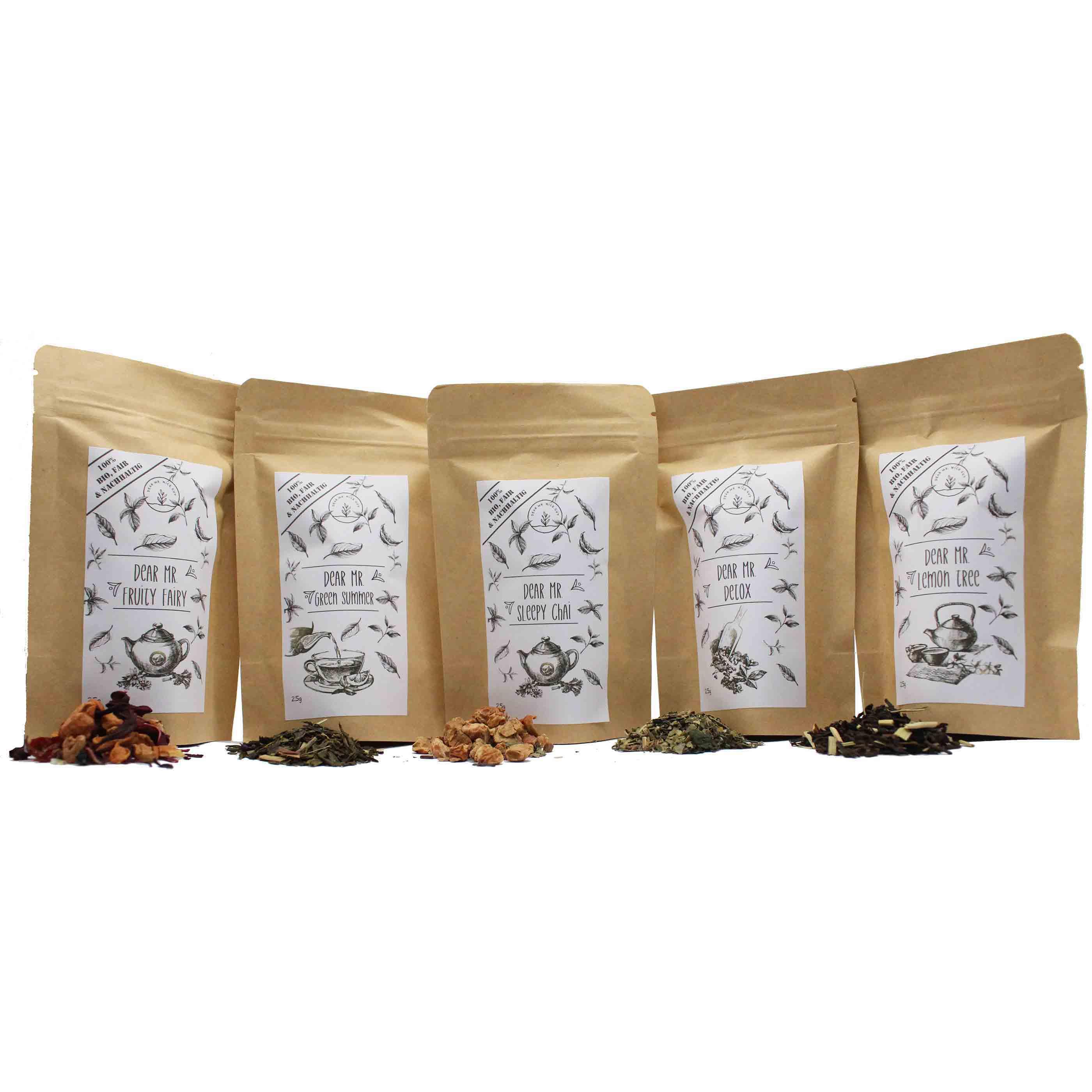 Bio Tee Probierset 5x25g verschiedene Bioees, nachhaltig, CO²-Neutral