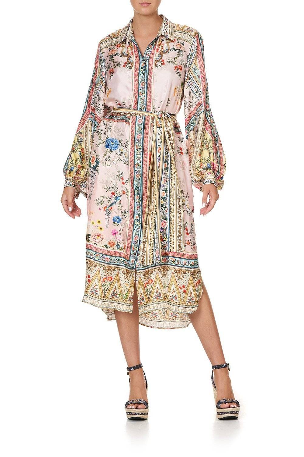 CAMILLA shirt dress with blue white and pink print