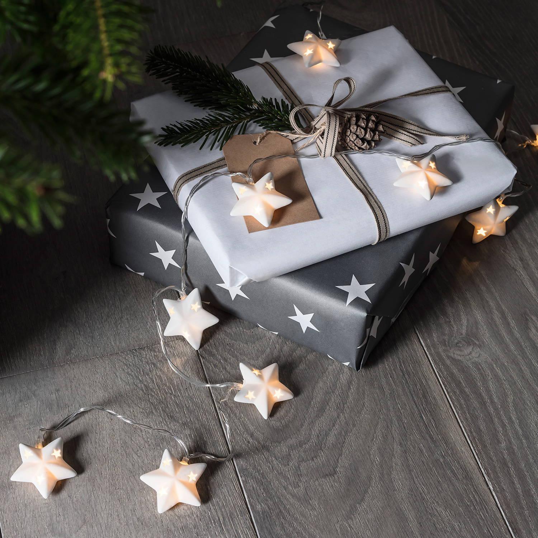 Keramik.Sternen-Lichterkette als Geschenkdeko.