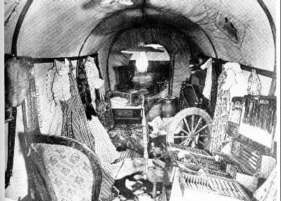 Inside view of emigrant covered wagon