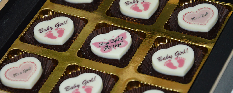 baby girl birth announcement chocolates