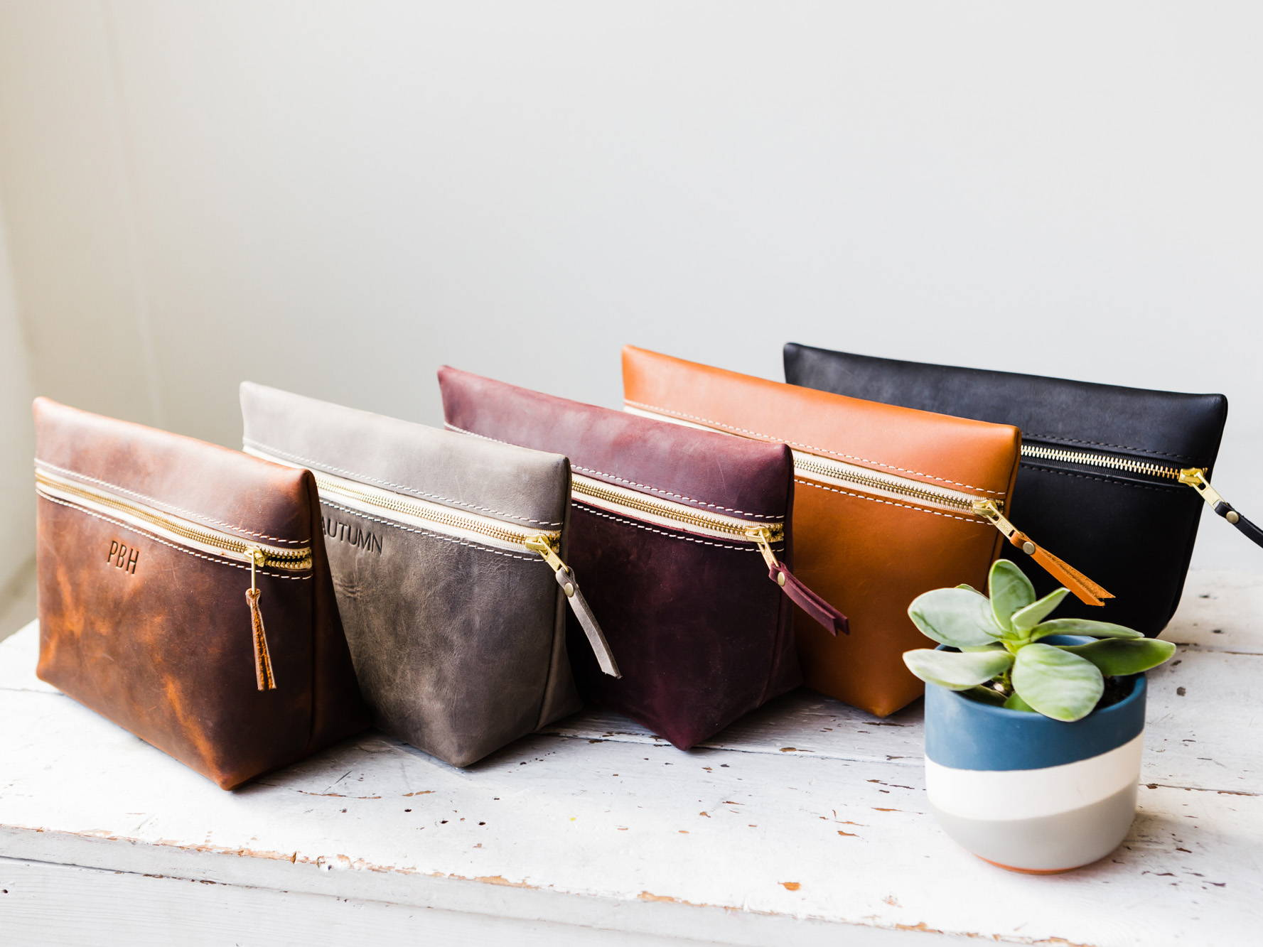 Five Colors of Large Leather Makeup Bags