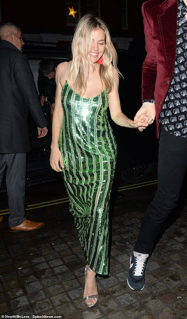 Sienna Miller wearing Galvan London Sequin Bustier Cocktail Dress