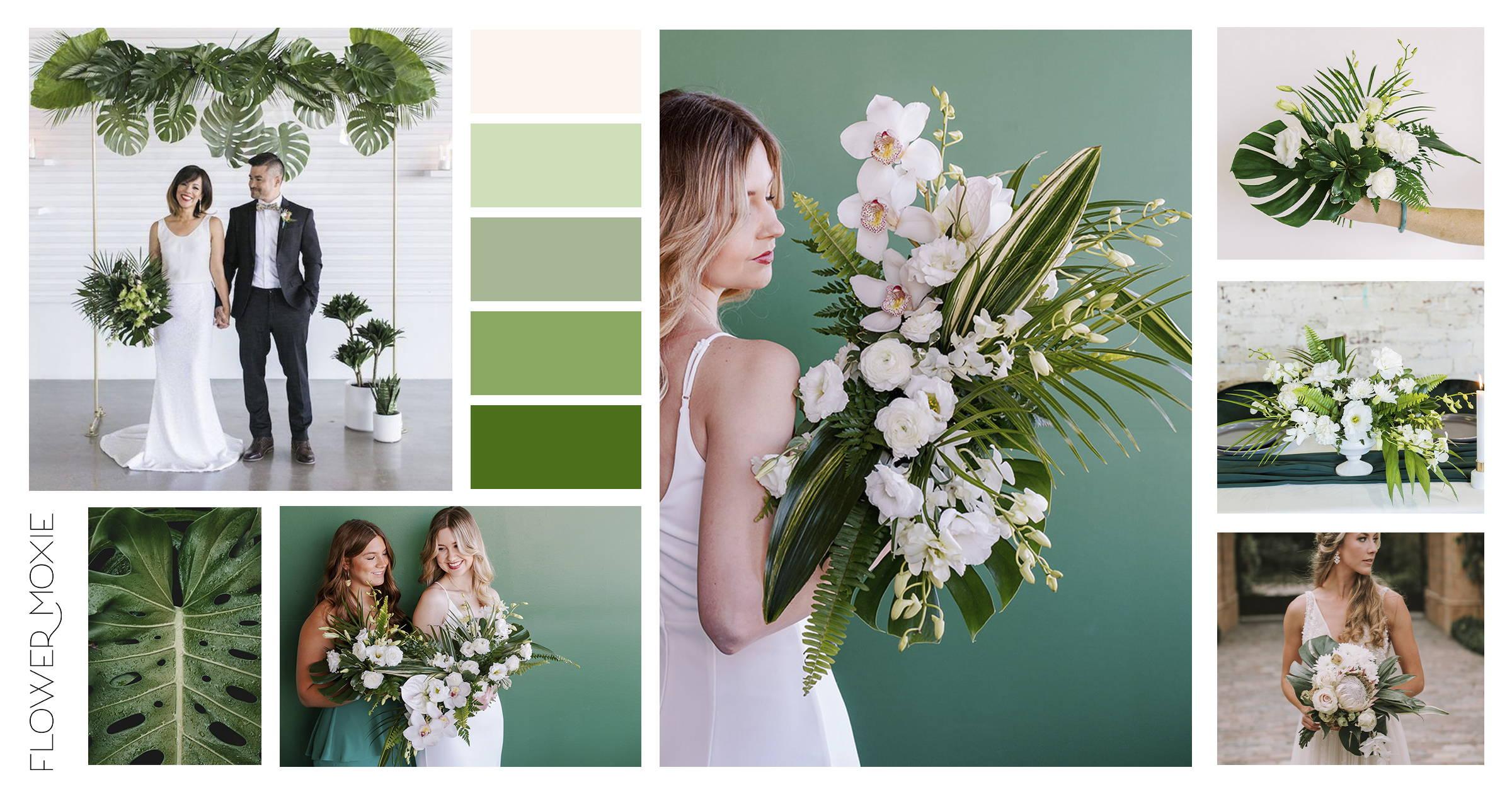 Tropical minimalism wedding flower packages DIY