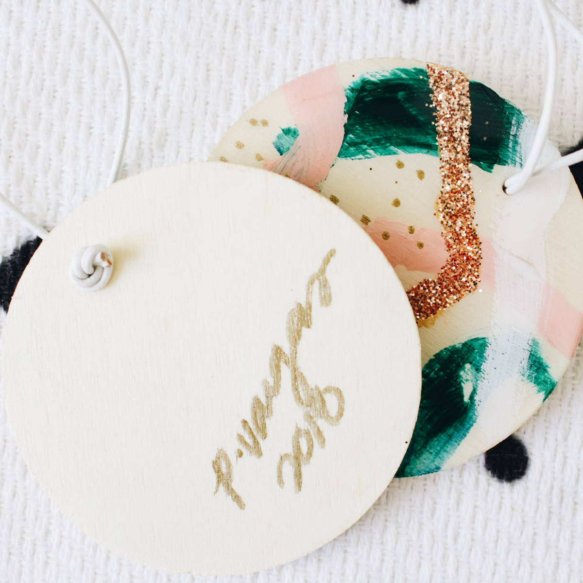 Hand painted ornaments by Parima Studio - back with artist's signature