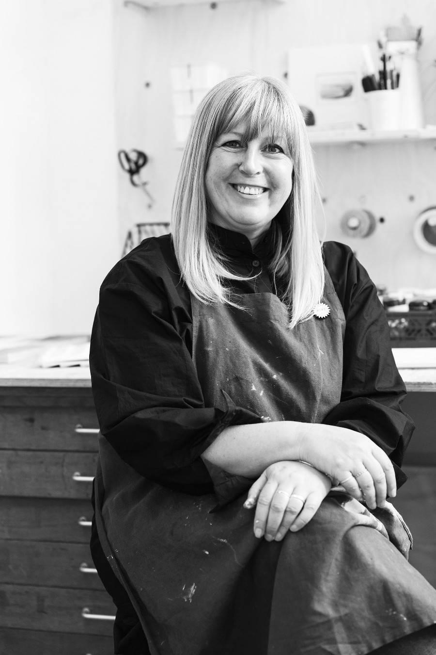 Artist Janine Burrows in her studio