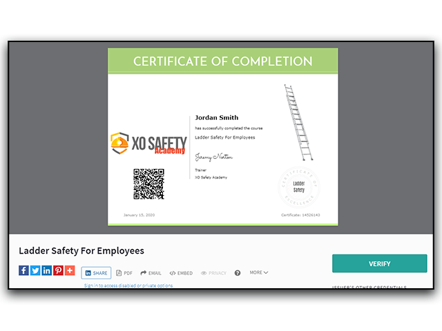 Online Ladder Safety Training Certificate