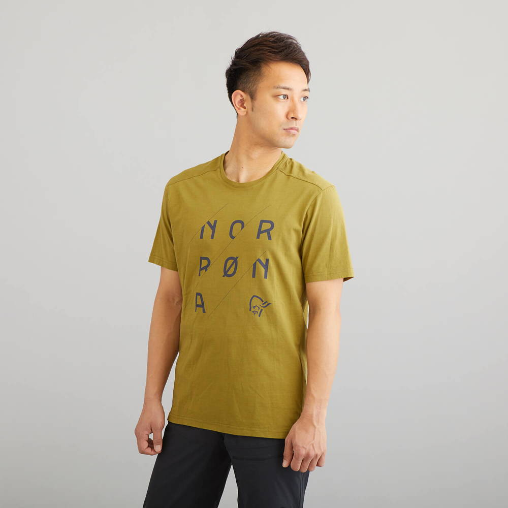 NORRONA(ノローナ)/29コットン スラントロゴTシャツ/カーキ/MENS