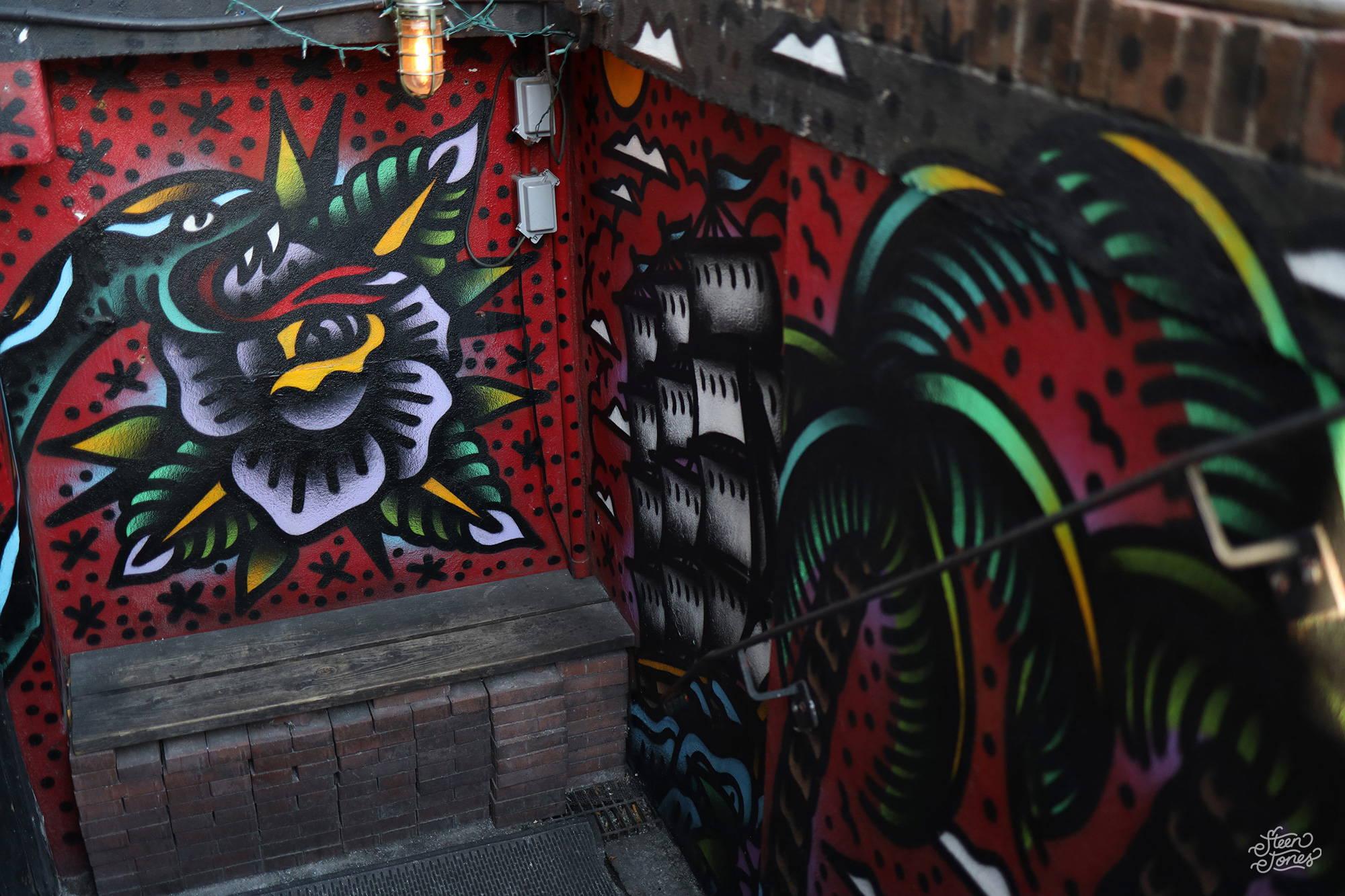 Steen Jones tattoo street artist PourHouse Wilmington USA mural