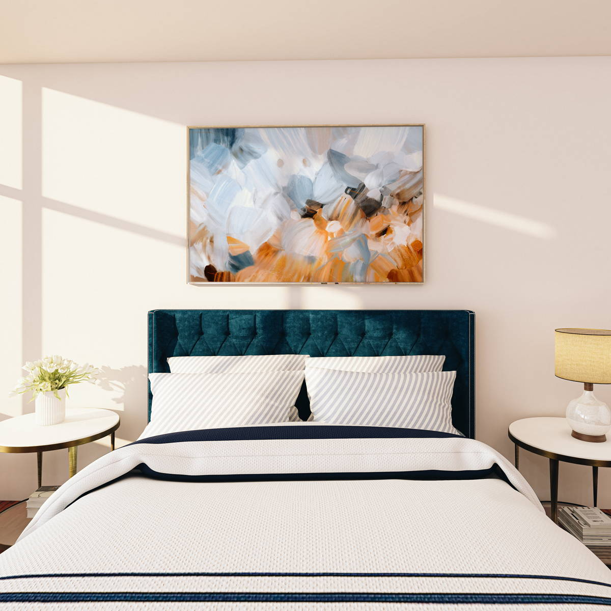 Light blue abstract wall art over a king bed. Grasslands, limited edition print on canvas - 60