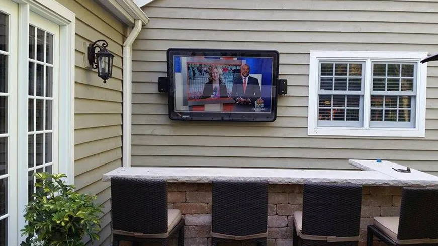 Weatherproof TV case for cabana, bar, grill, patio, deck,