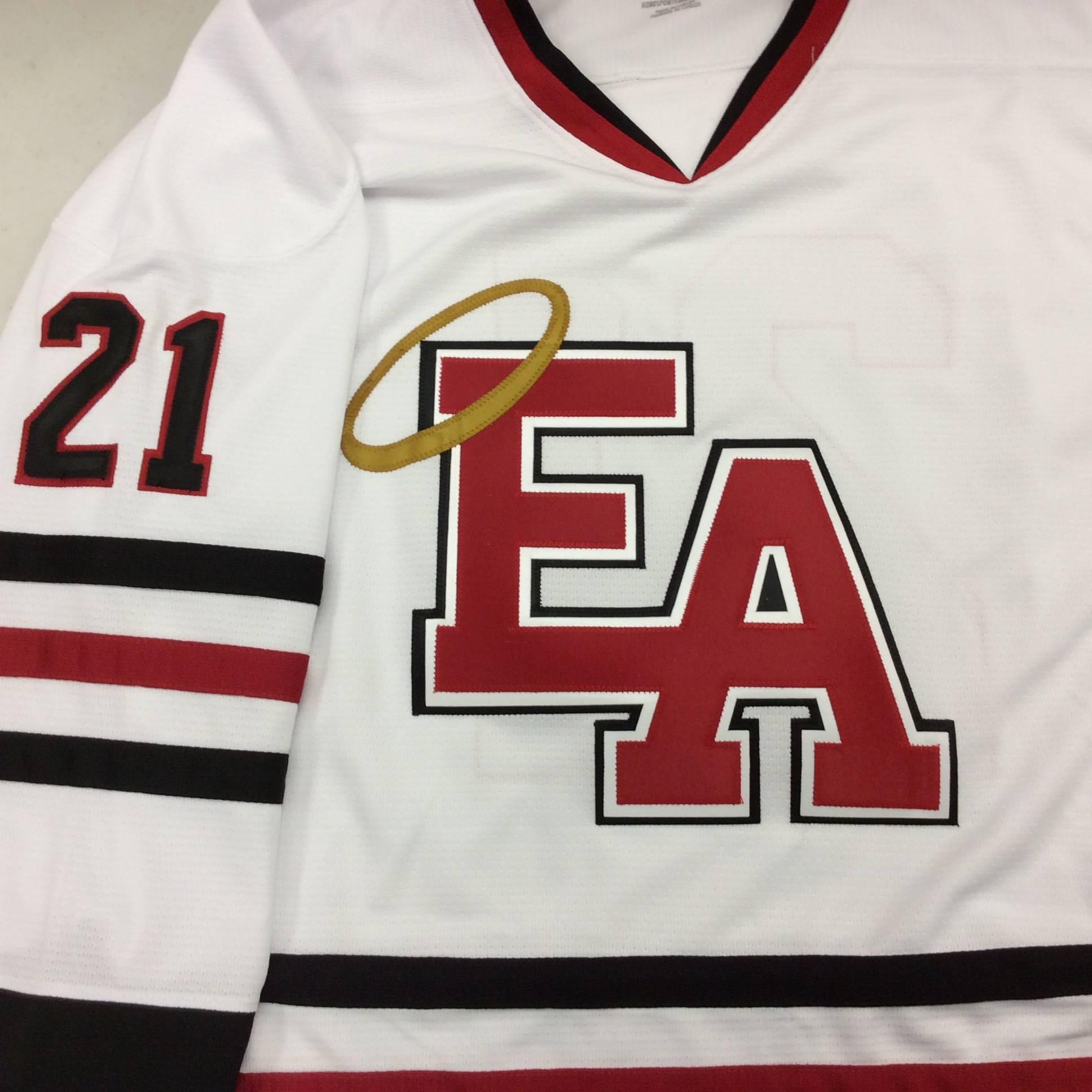 Custom Hockey Jersey With Layered Twill Crest on Kobe K3G06H Chicago Blackhawks White: Denver East Angels