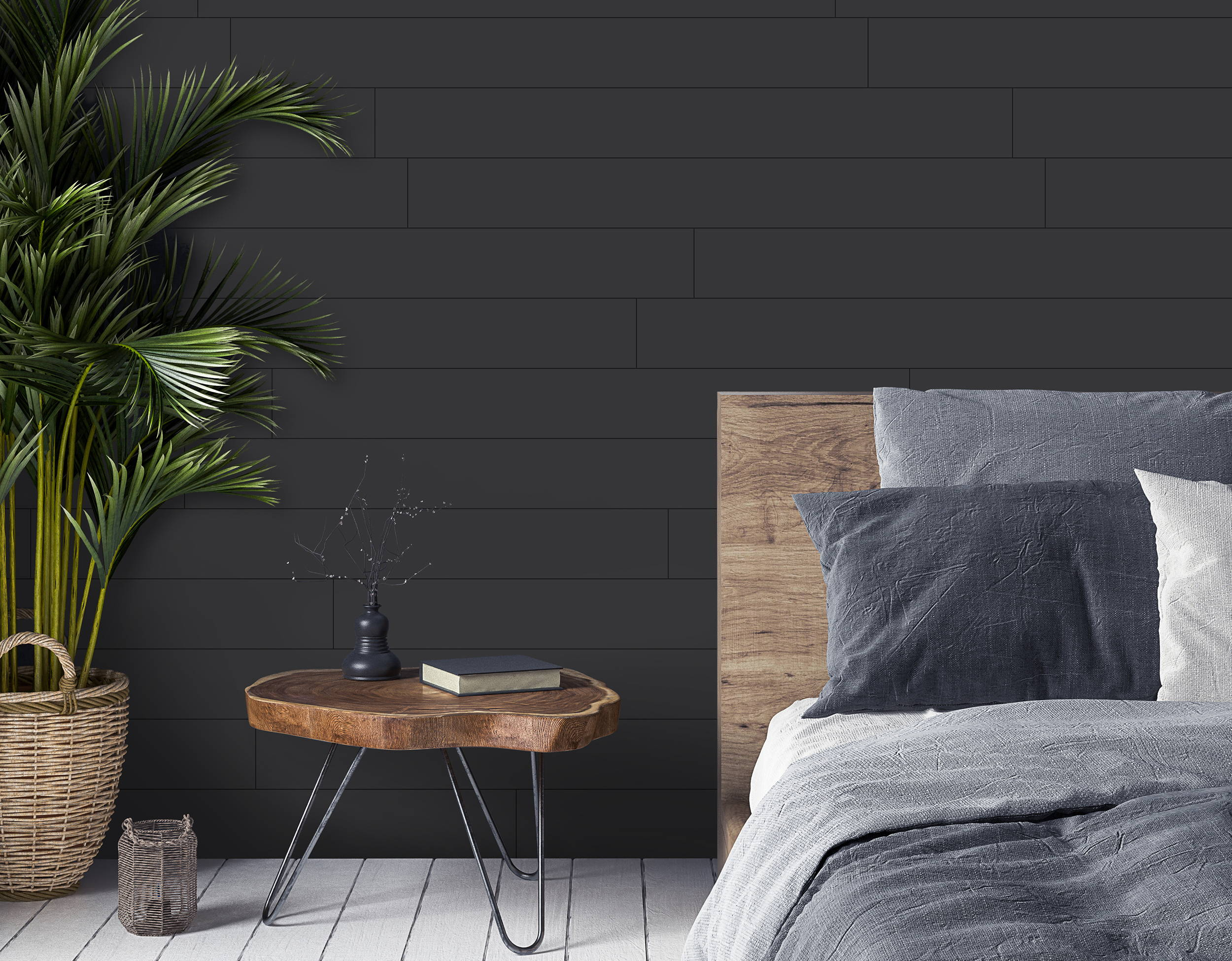 Classic Black Shiplap Peel Stick Wood Shiplap