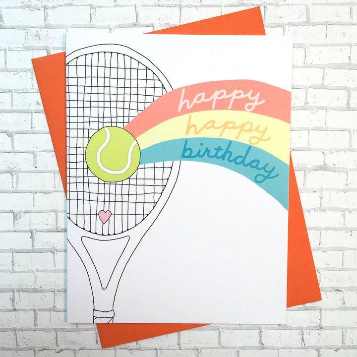 Racquet Smash Birthday Card Racquet Rainbow