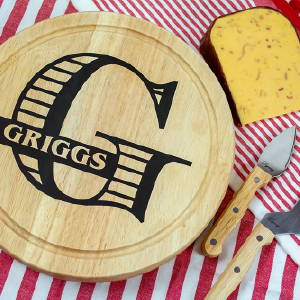 Monogramed Cheeseboard Personalized Gift with Vinyl