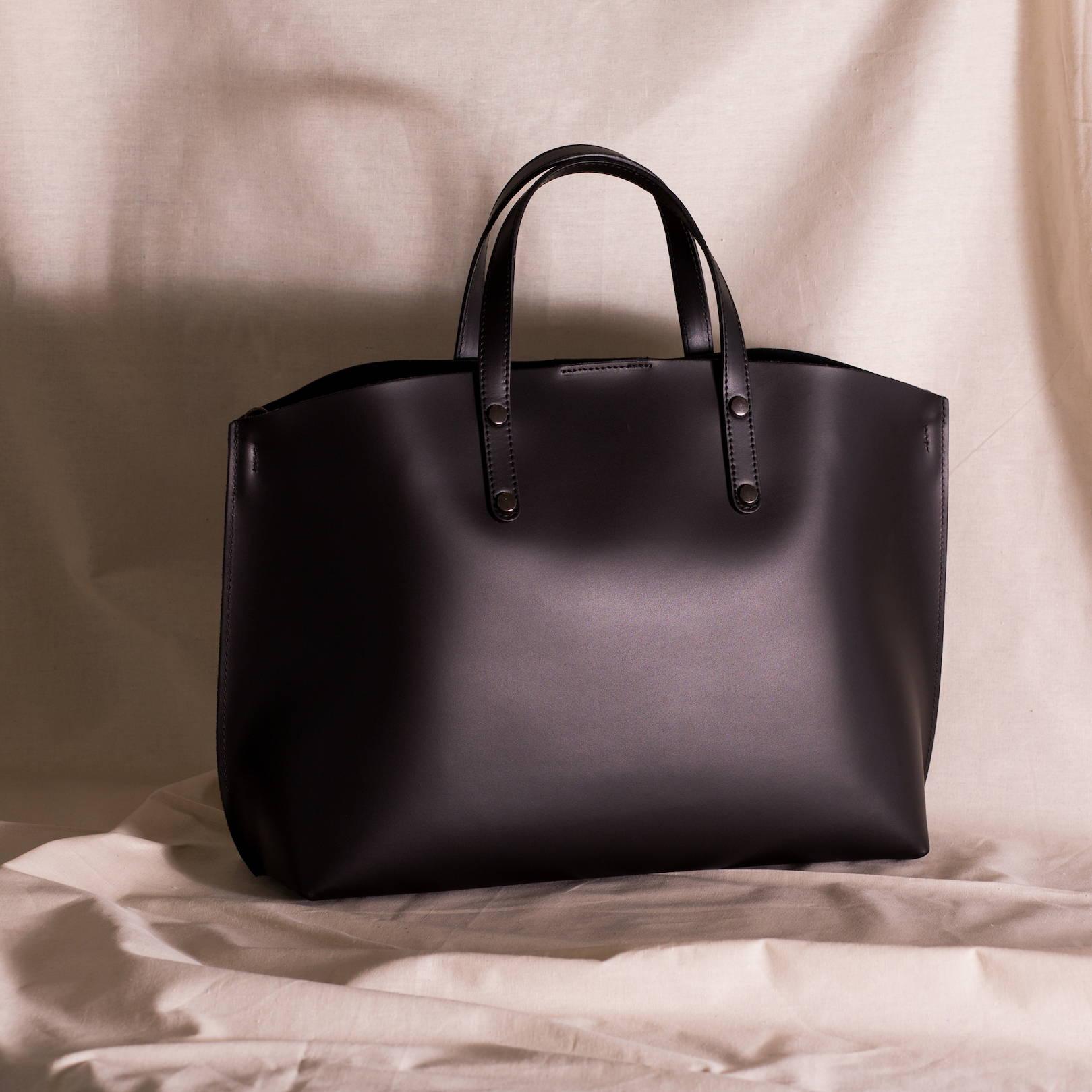 VESTIRSI leather handbag handmade in Italy TONIA black work office handbag
