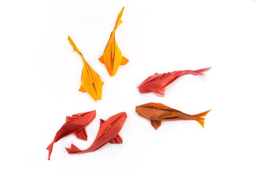 origami paper red yellow fish