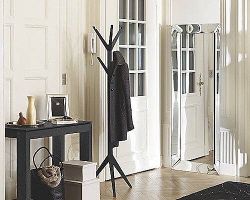 Impress guests with a modern coat rack.