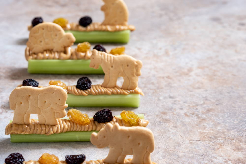 Celery with peanut butter and animal crackers