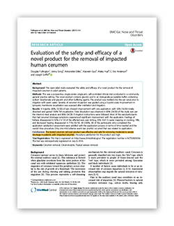 The efficacy study on EARWAX MD, earwax impaction removal drops.