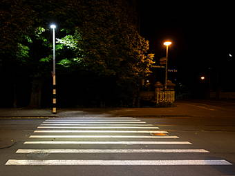 Streetlight providing safety to pedestrian crosswalk