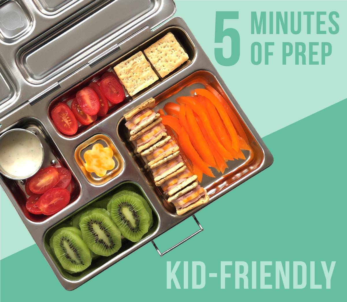 Kids lunch box filled with crackers and cheese, bell pepper strips, cherry tomatoes, and kiwi slices.