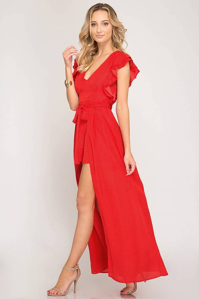 Dreaming Of You Red Polka Dot High Low Maxi Romper