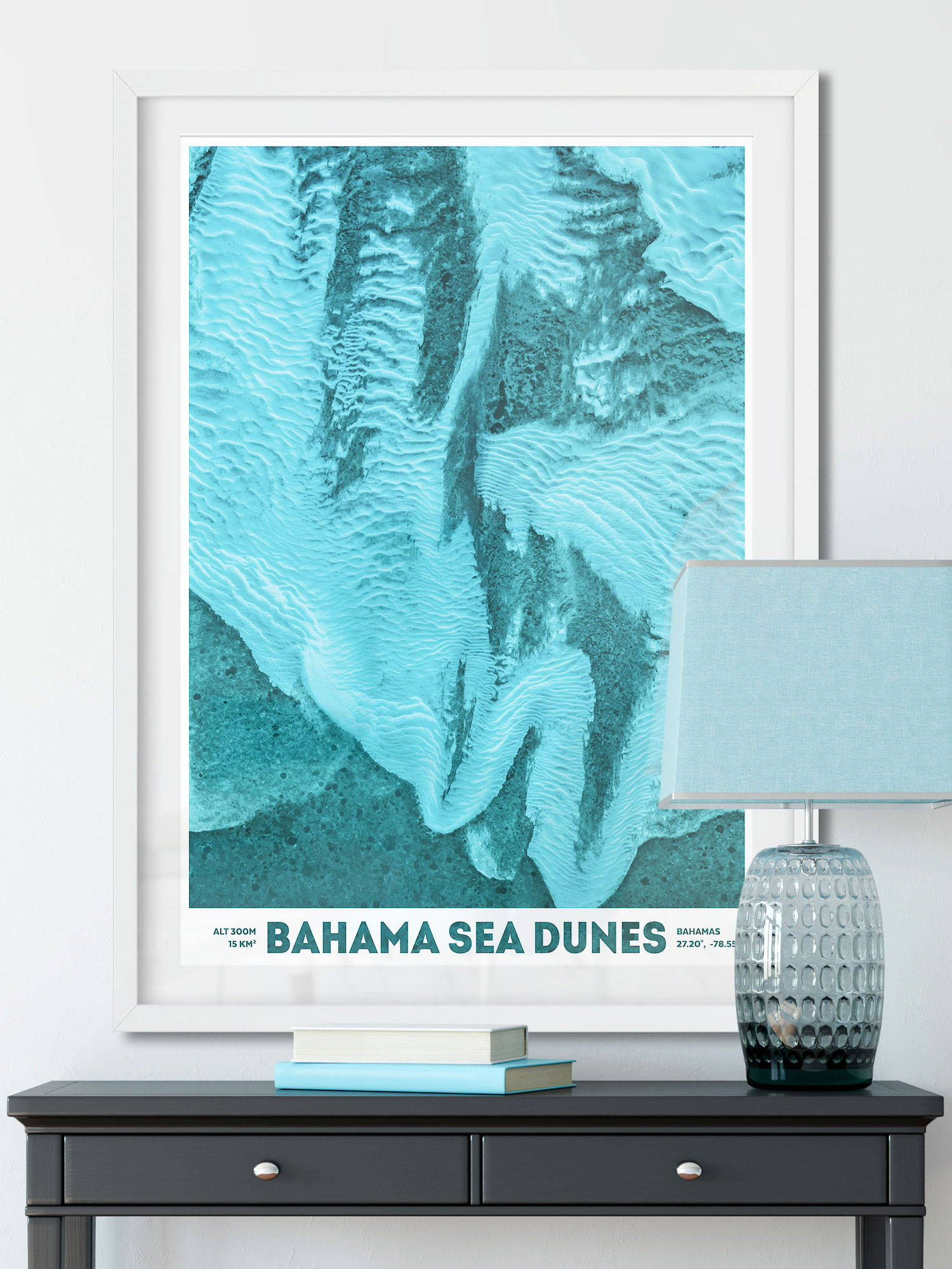 Large photo prints of earth from space of Bahama Sea Dunes