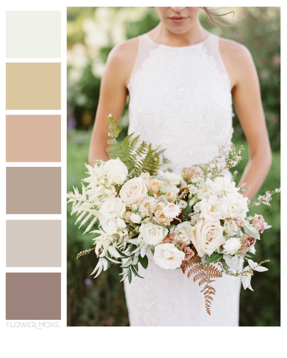 beige and neutral wedding flower packages