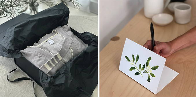 Images show robe in gift packaging, next to image of person writing a message on a festive card.