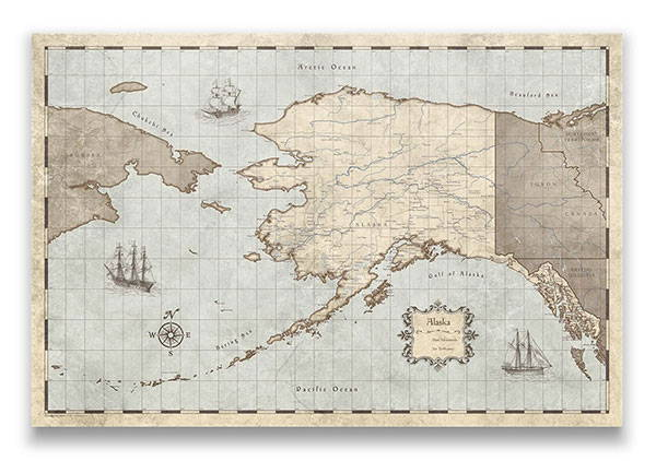 Alaska Push pin travel map rustic vintage
